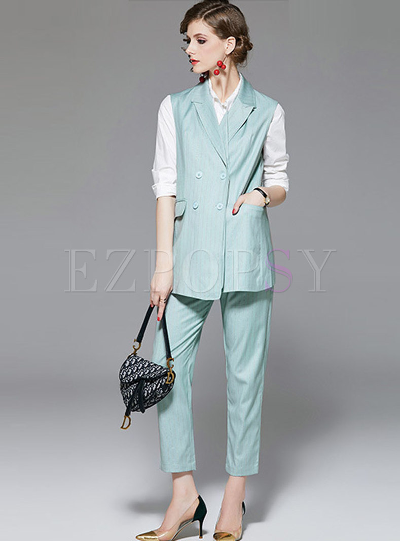 Solid Color Vest Striped Pant Suits