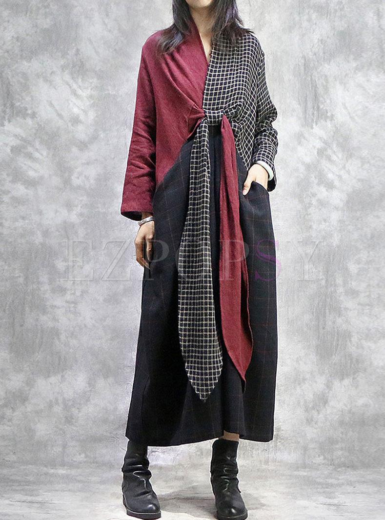 V-neck Cross Plaid Patchwork Maxi Dress