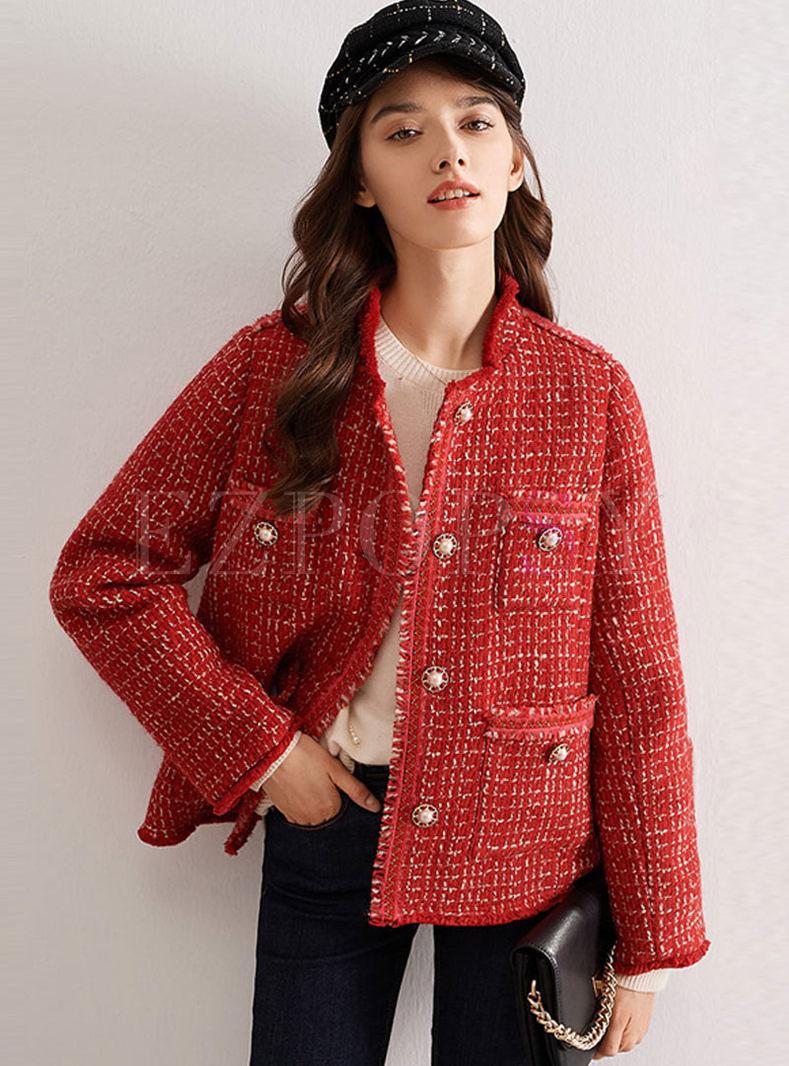 Mock Neck Single-breasted Tweed Jacket