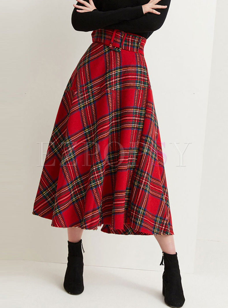 Red High Waisted Plaid A Line Skirt