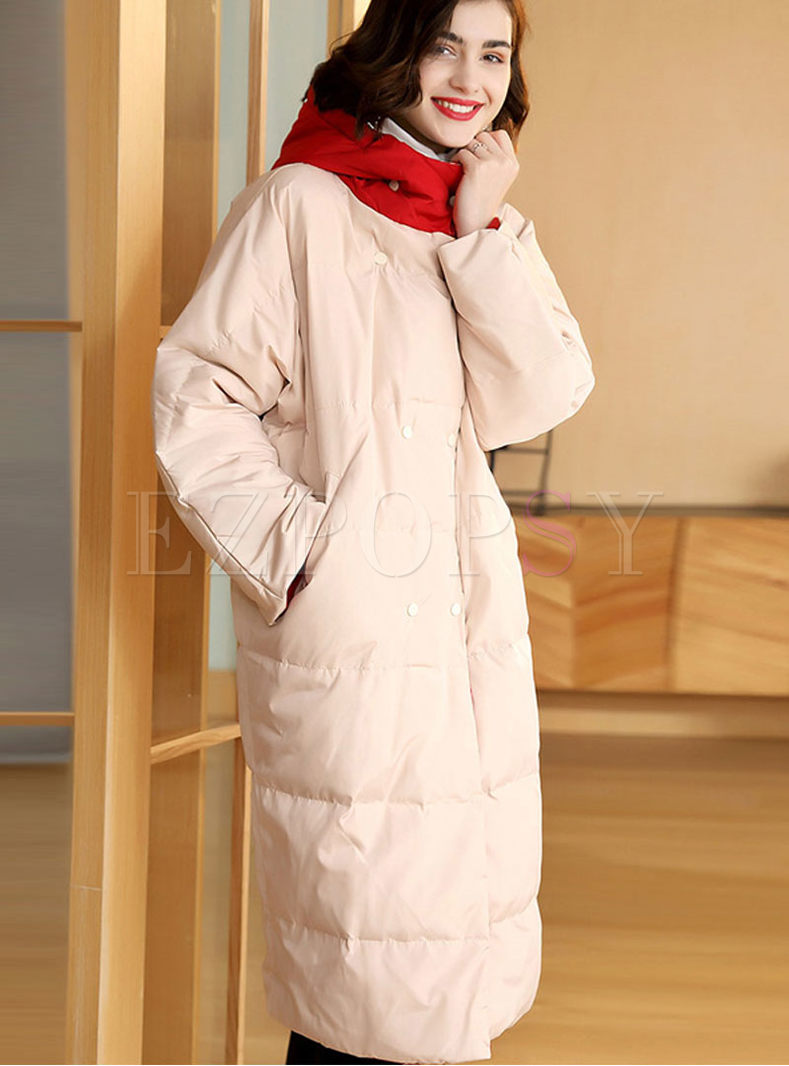 Color-blocked Hooded Long Puffer Coat