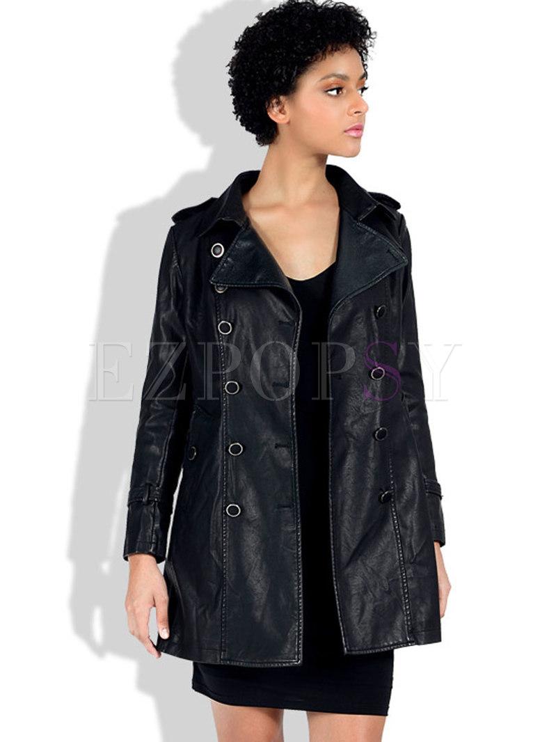 Slim PU Jacket With Belt
