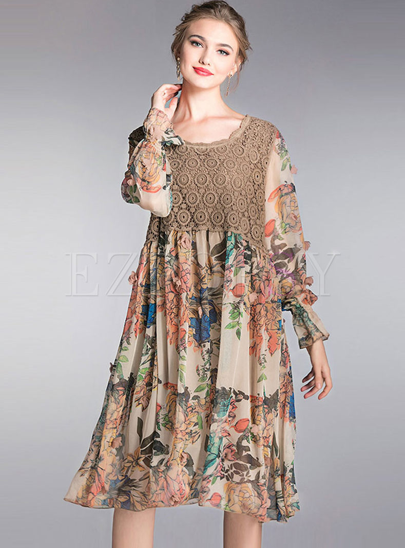 Crew Neck Lace Patchwork Chiffon Plus Size Dress