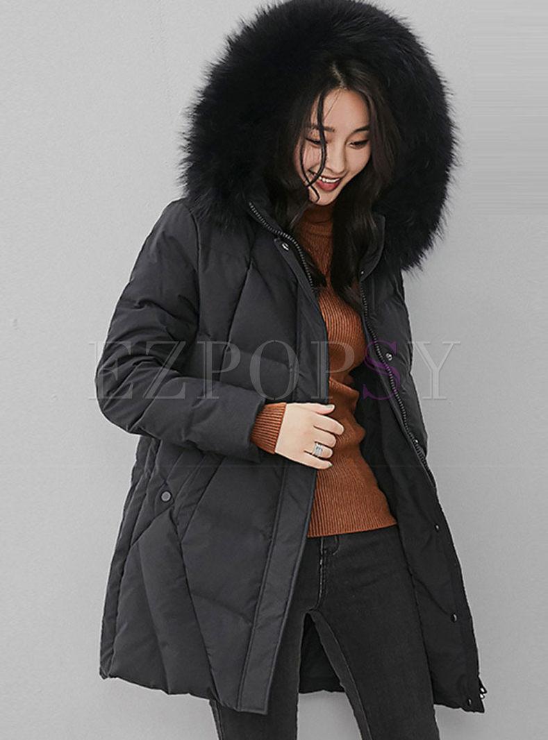 Fur Collar Hooded Loose Down Coat