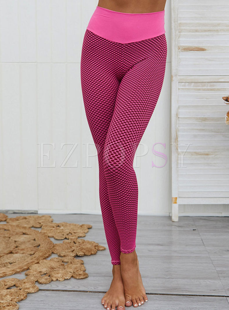 High Waisted Tight Openwork Yoga Pants