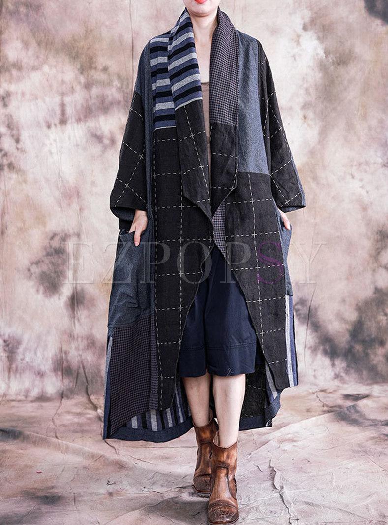 Patchwork Color-blocked Irregular Loose Coat