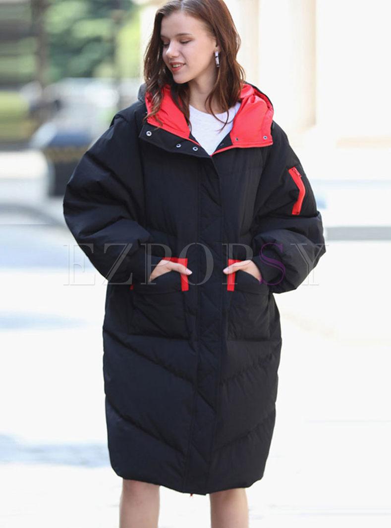 Black Hooded Straight Puffer Coat