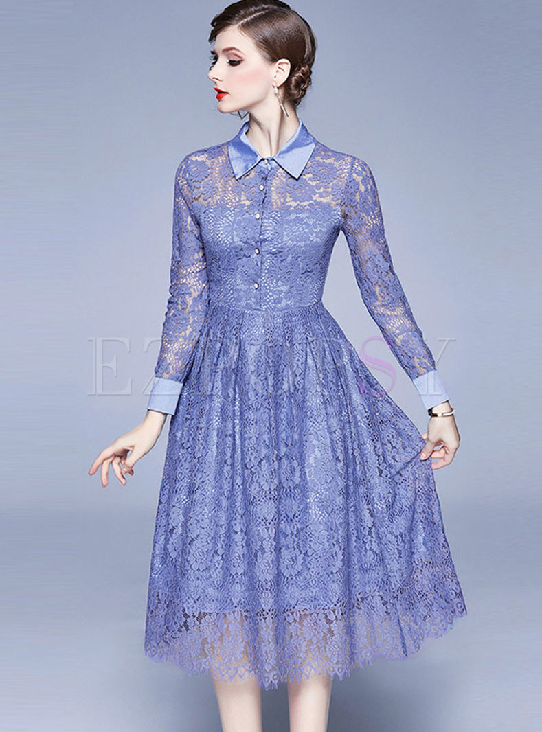 Long Sleeve Openwork A Line Lace Dress