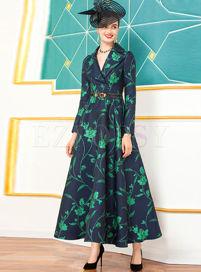 Notched High Waisted Embroidery A Line Coat Dress