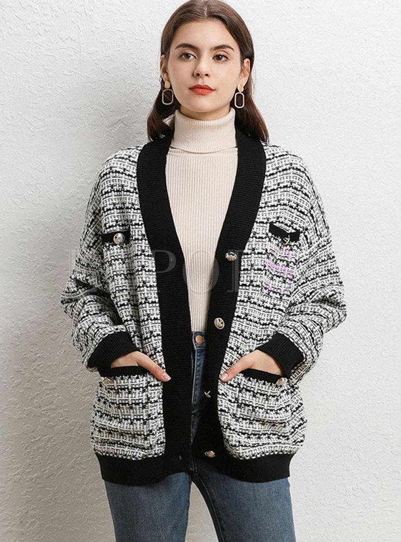 Color-blocked V-neck Loose Cardigan