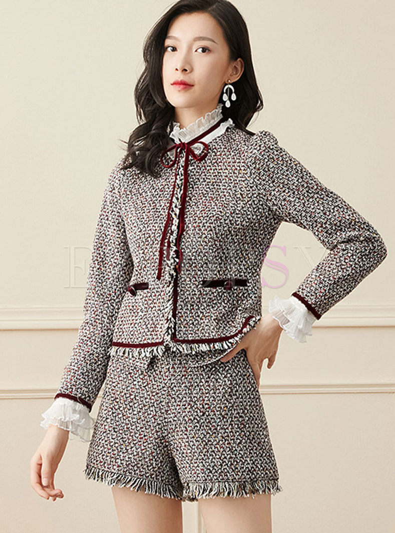 Lace Patchwork Tweed Fringed Pant Suits