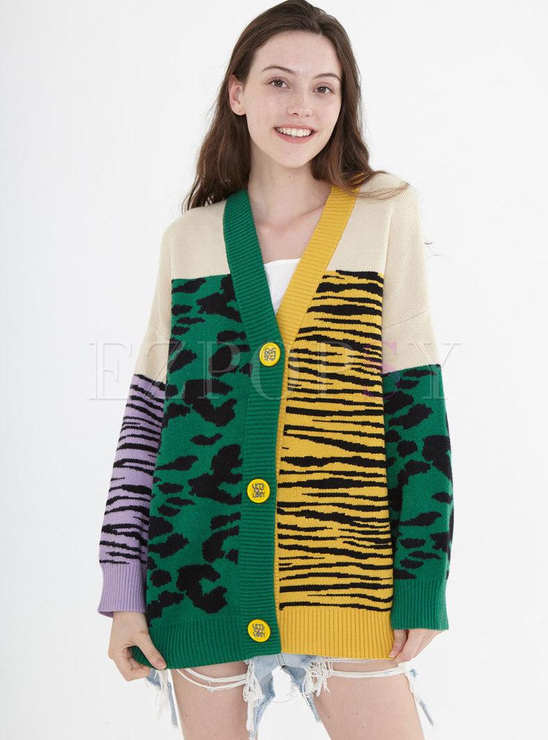 V-neck Patchwork Color-blocked Loose Cardigan