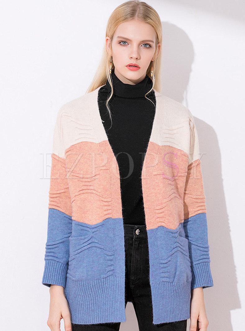 V-neck Color-blocked Straight Loose Cardigan