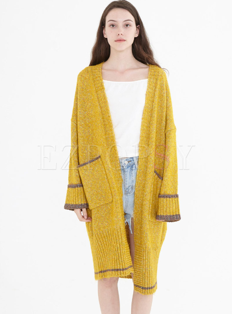 V-neck Color-blocked Loose Sweater Coat