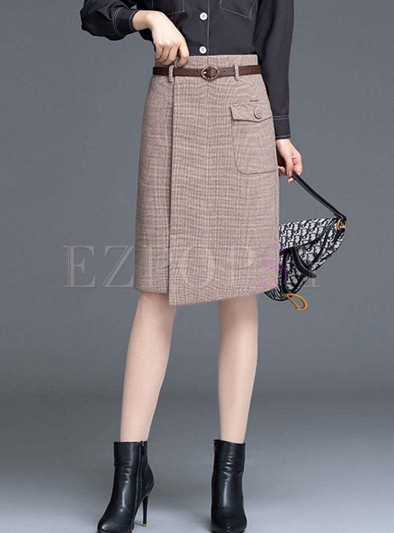 High Waist Plaid Asymmetric Skirt