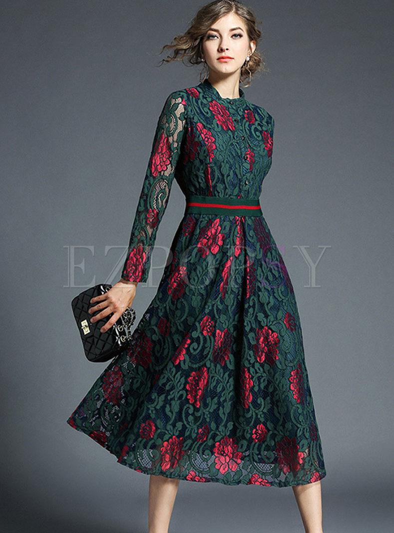 Mock Neck Print Lace A Line Dress