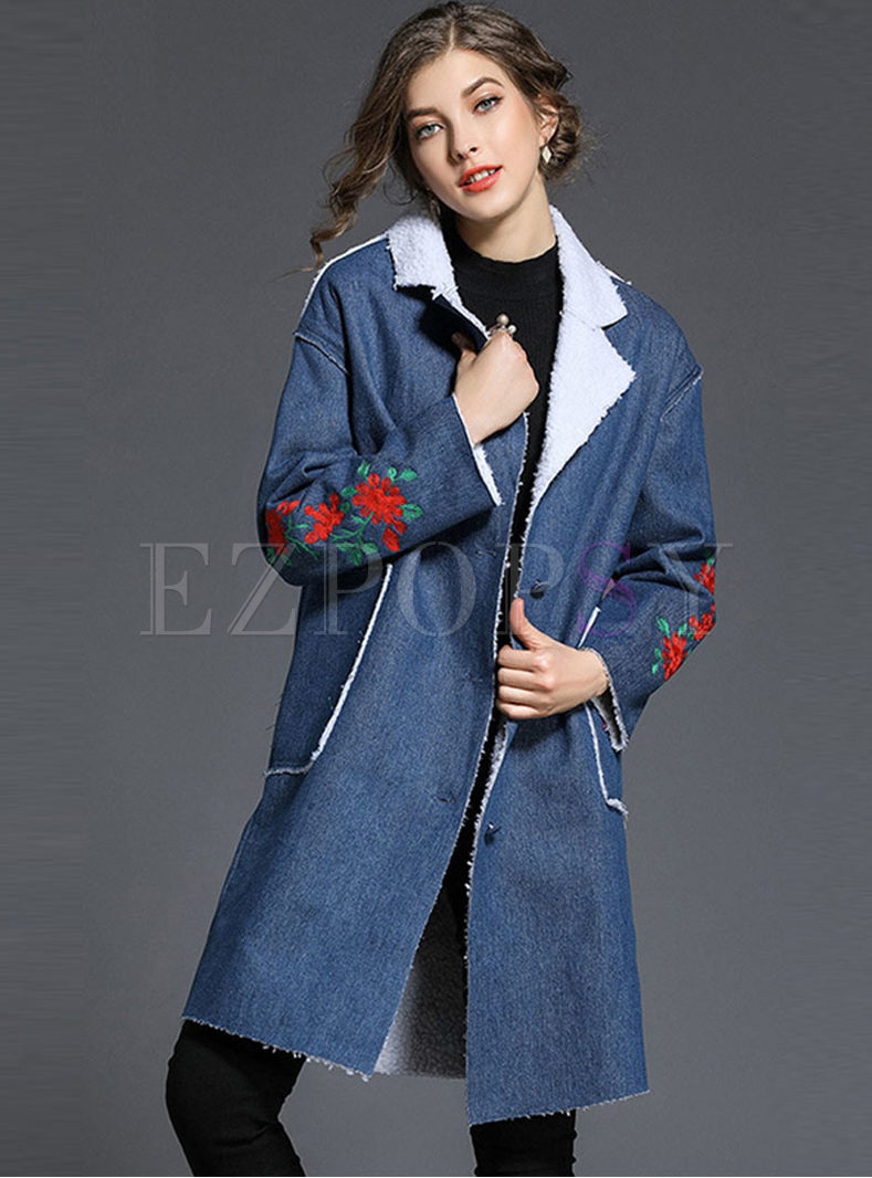 Notched Patchwork Denim Embroidered Coat