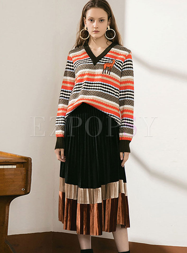 V-neck Striped Pullover Pleated Suit Dress