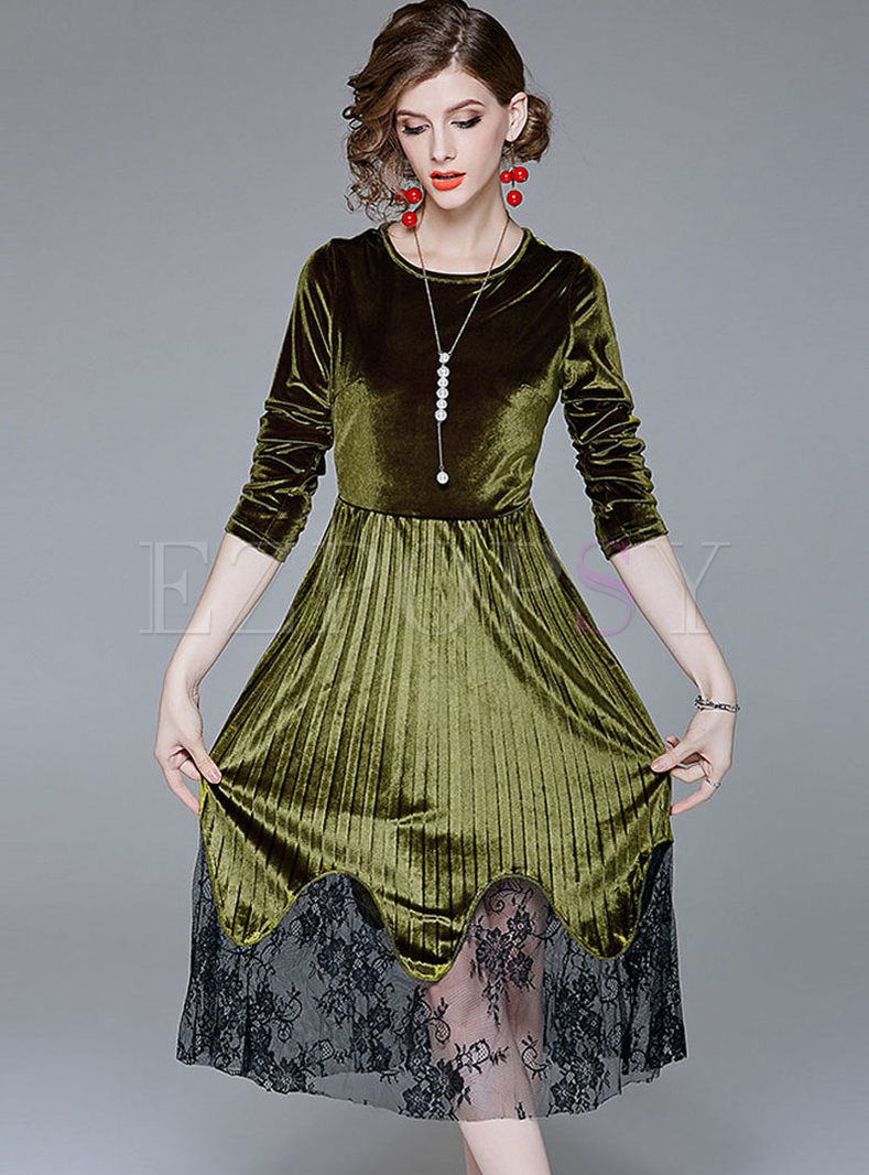 Long Sleeve Mesh Patchwork Velvet Skater Dress