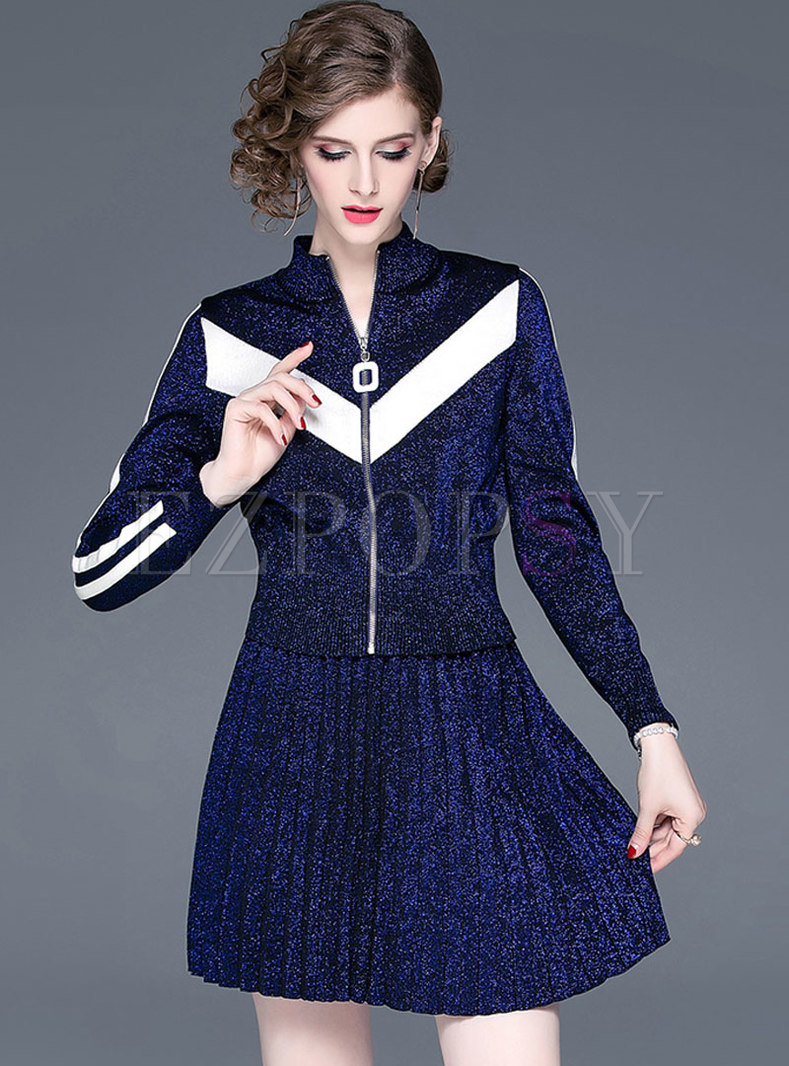 Long Sleeve Striped Sweater Mini Suit Dress
