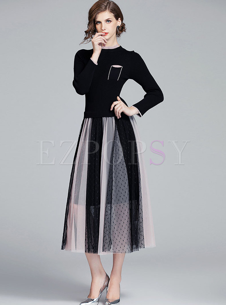 Mock Neck Knit Patchwork Mesh Maxi Dress