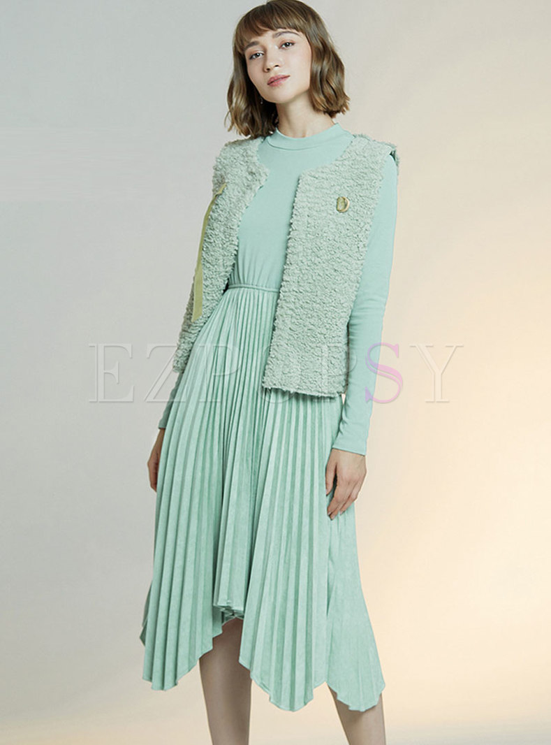 Fleece Slim Long Sleeve Pleated Suit Dress