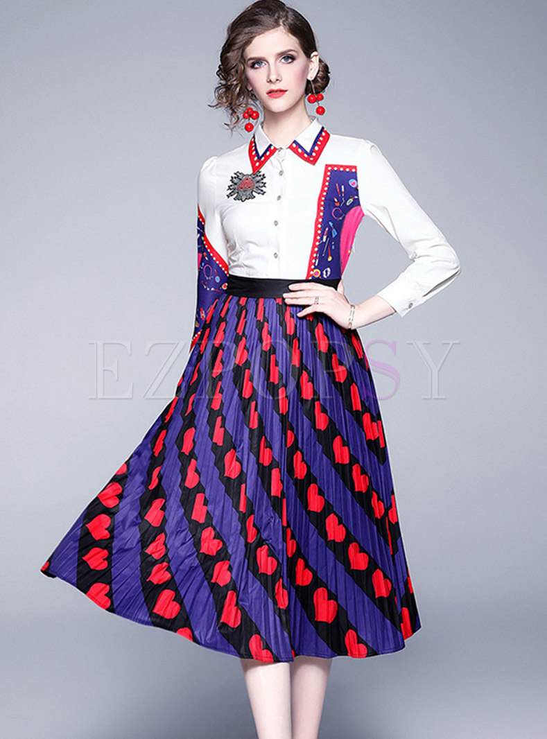 Long Sleeve Print Patchwork Skater Dress