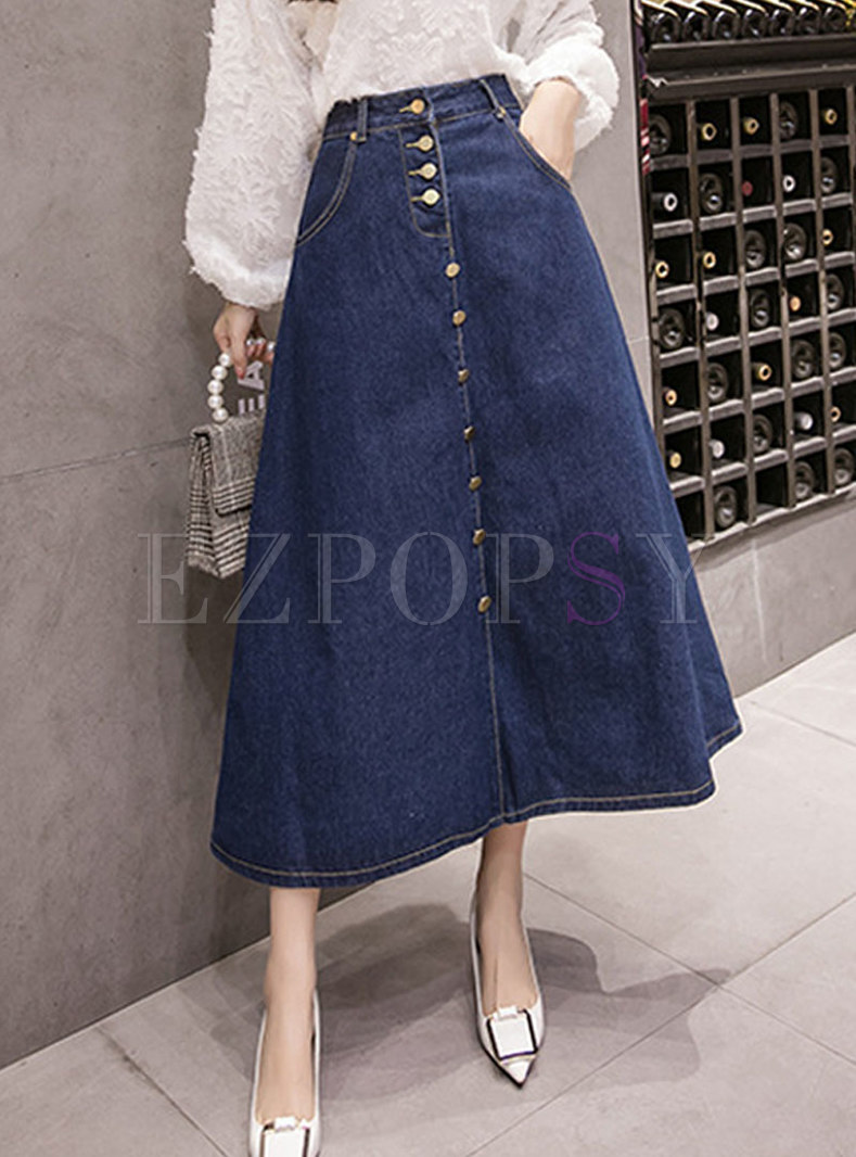 High Waisted Big Hem Denim A Line Skirt