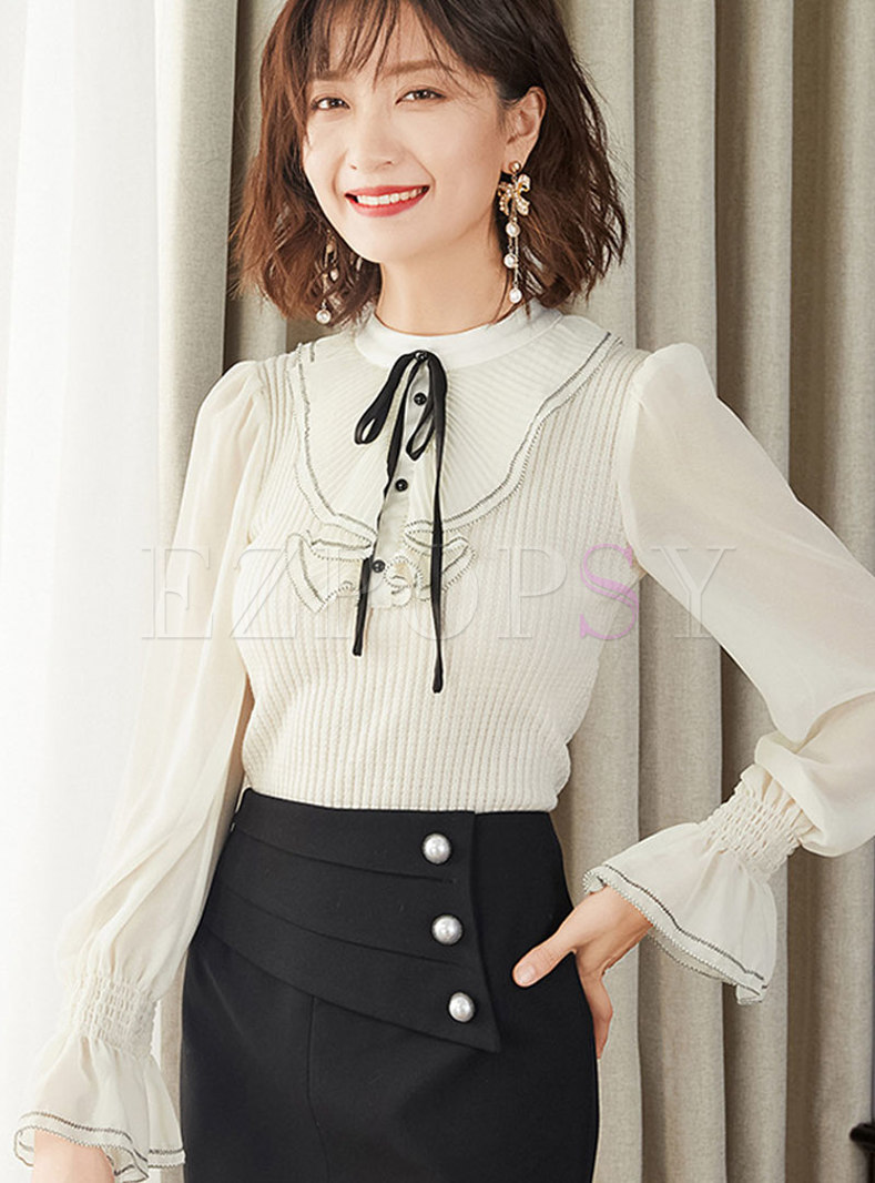 Mock Neck Falbala Slim Wool Sweater