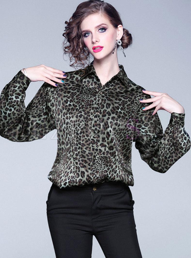 Lantern Sleeve Leopard Loose Blouse