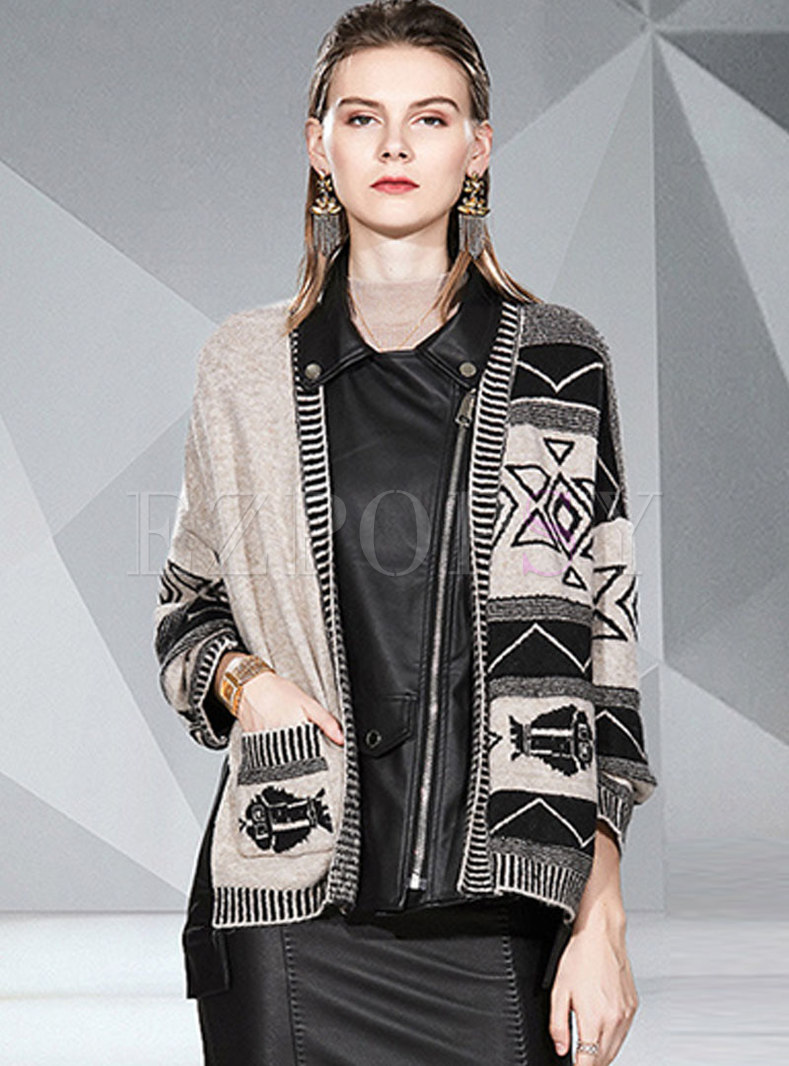Notched PU Patchwork Sweater Coat