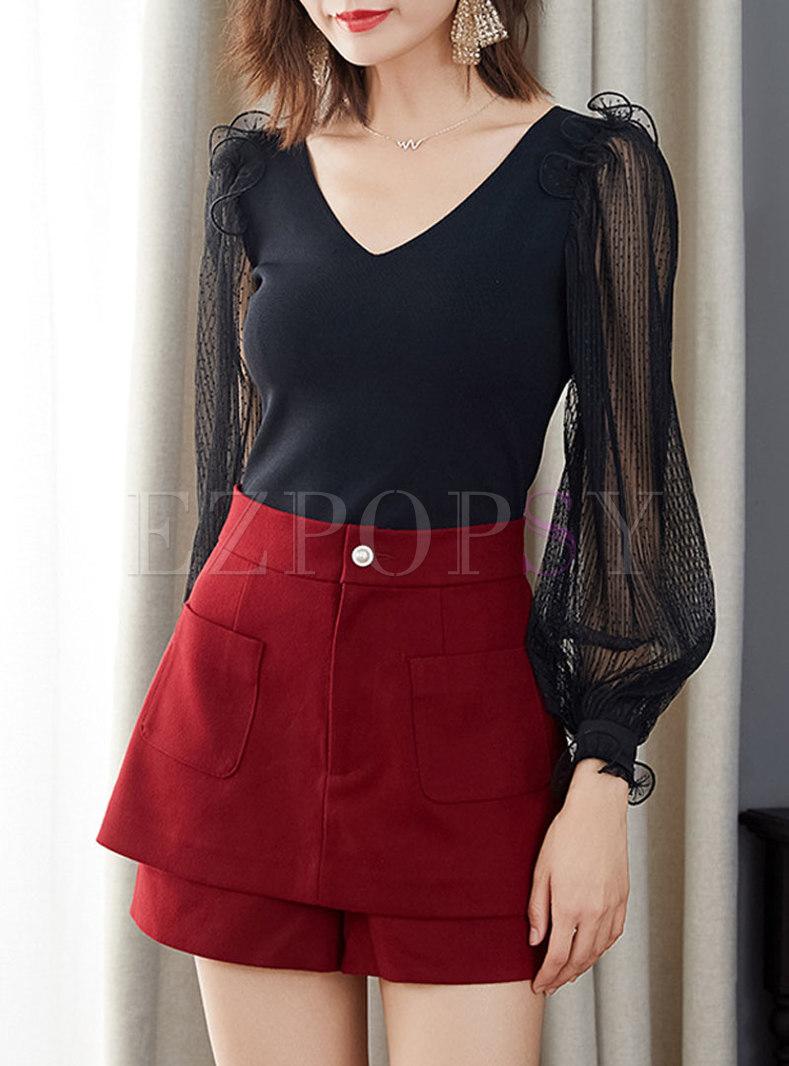 Black V-neck Pullover Mesh Patchwork Sweater