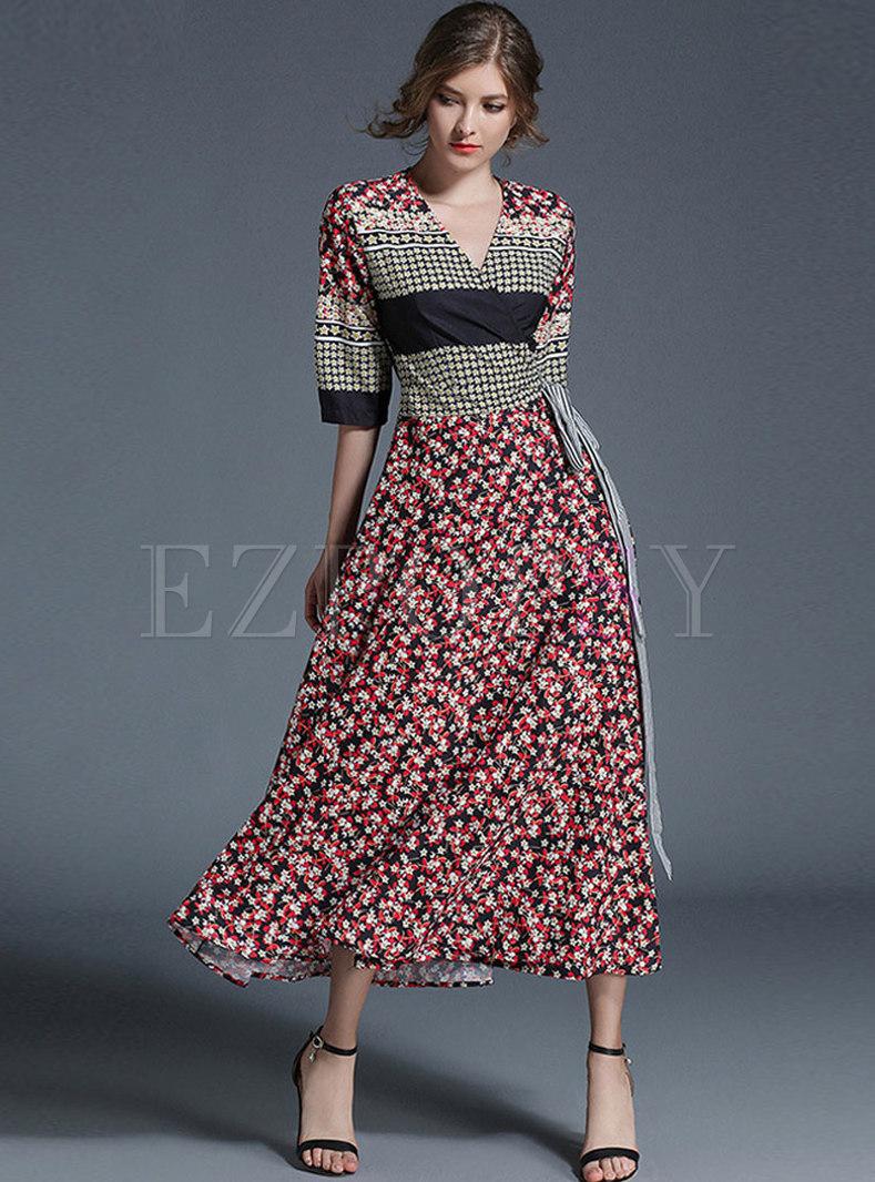 V-neck Plaid Patchwork Print Maxi Dress
