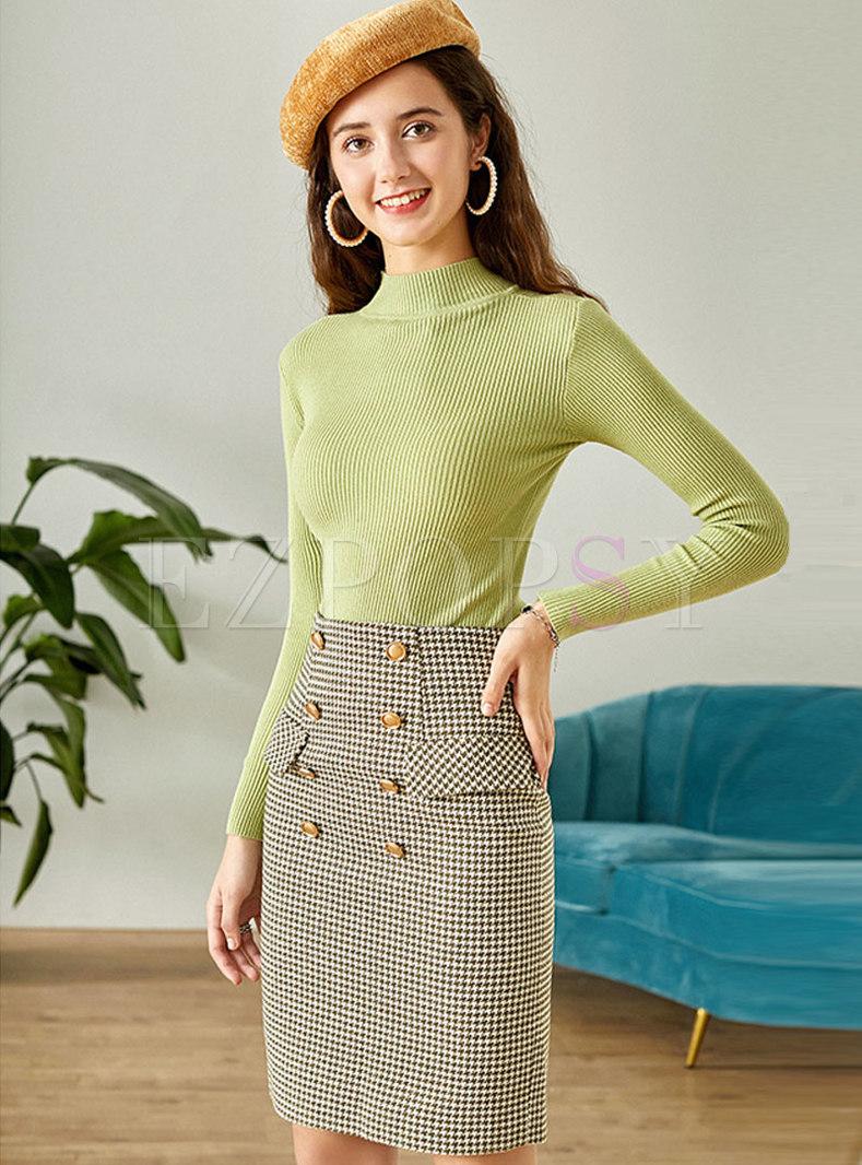 Pullover Slim Sweater Plaid Suit Dress