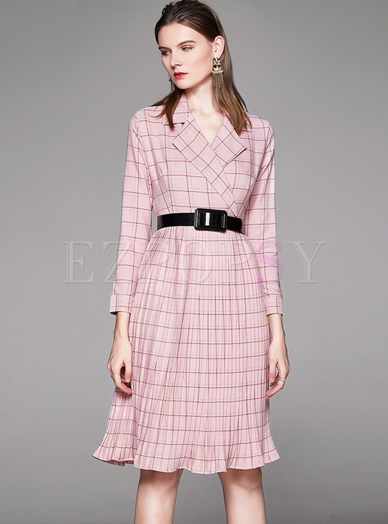 Notched Plaid Pleated Skater Dress With Belt