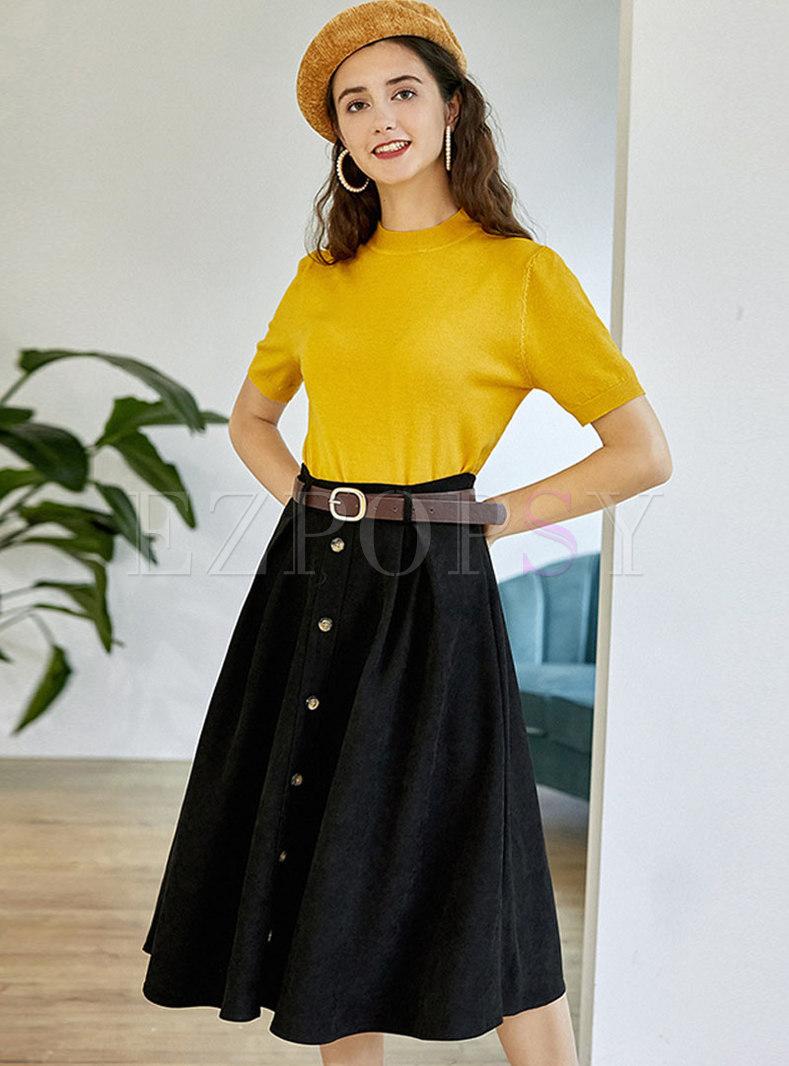 Mock Neck Pullover A Line Suit Dress