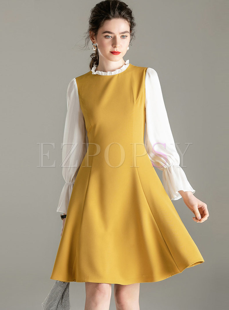 Color-blocked Long Sleeve Skater Dress