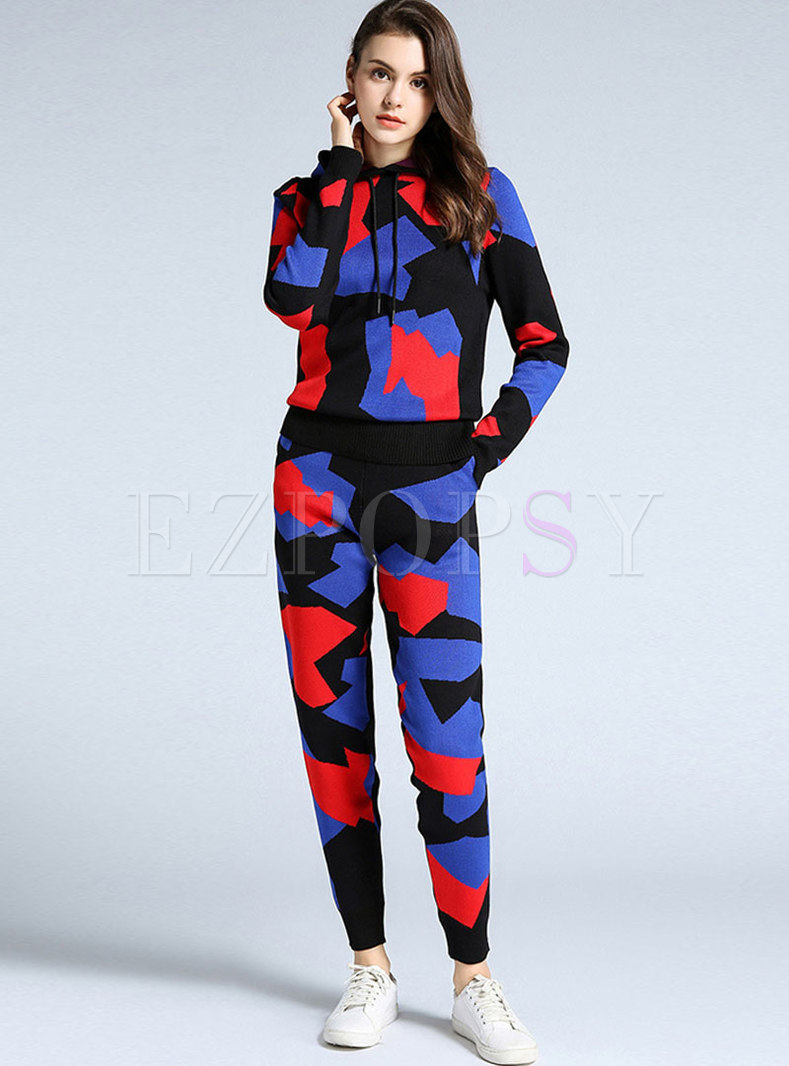 Geometric Print Hooded Sweater Pant Suits
