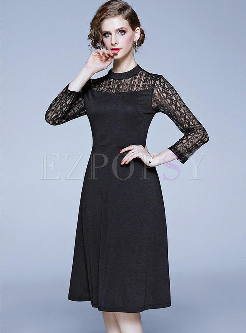 Black Openwork Lace A Line Dress