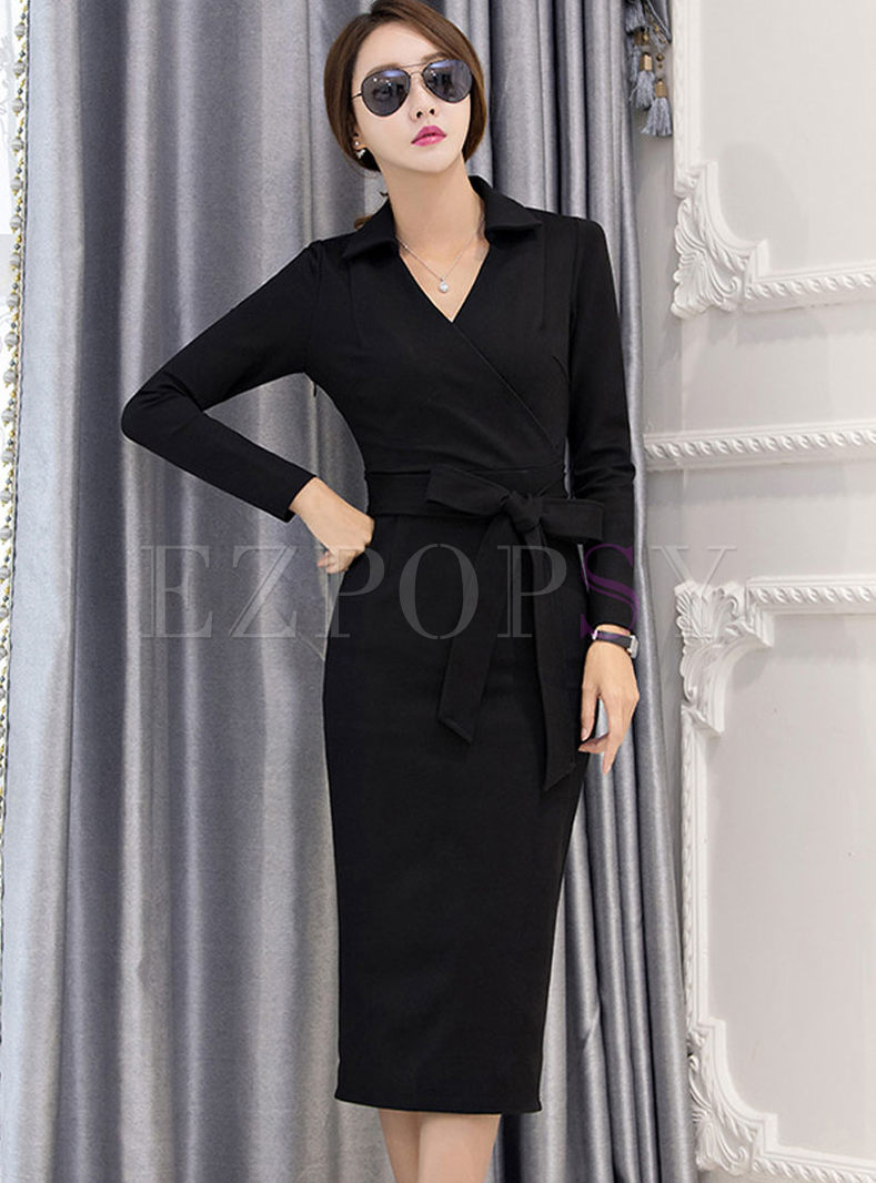 V-neck Long Sleeve Bodycon Wrap Dress
