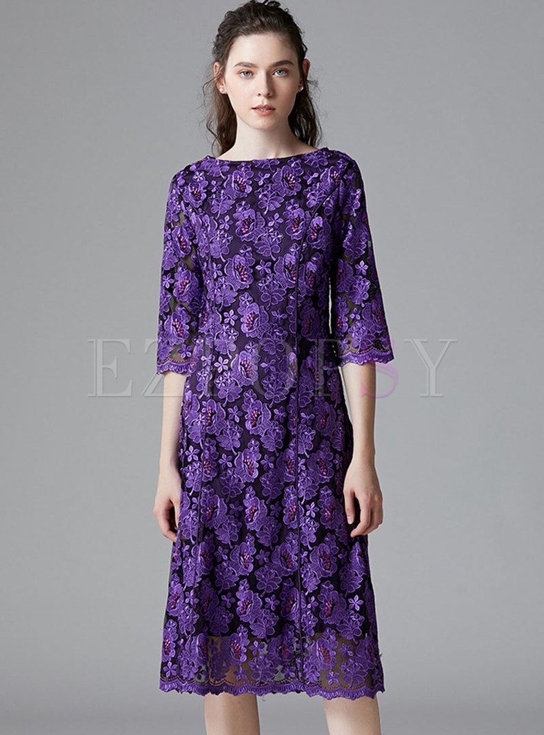 Purple Crew Neck Plus Size Loose Dress