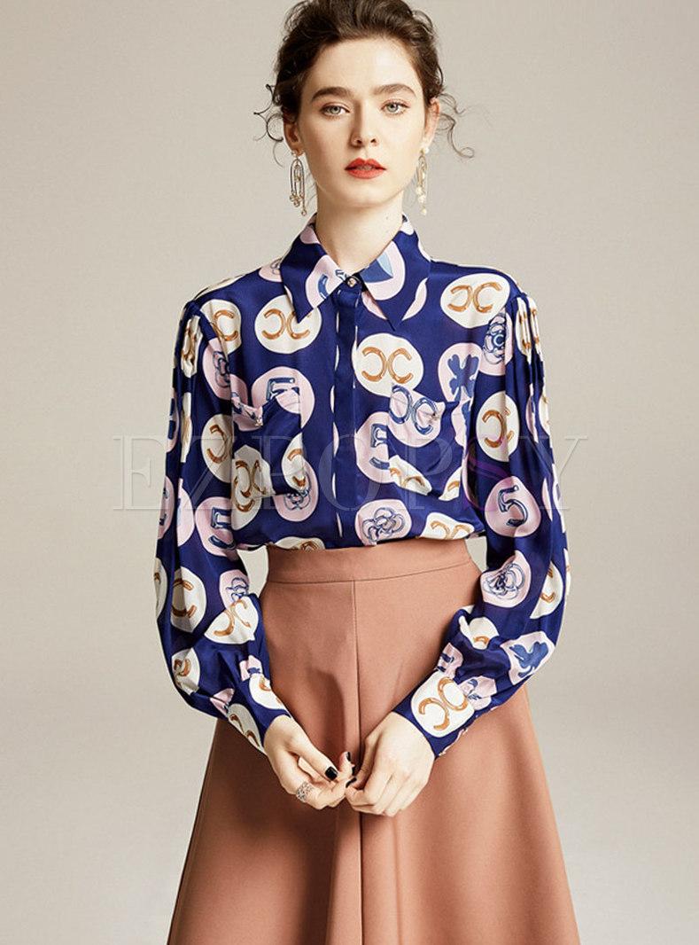 Lapel Long Sleeve Print Silk Blouse
