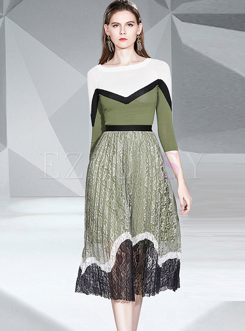 Color-blocked Pullover Lace Pleated Suit Dress