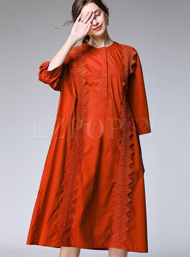 Plus Size Crew Neck Shirt Dress