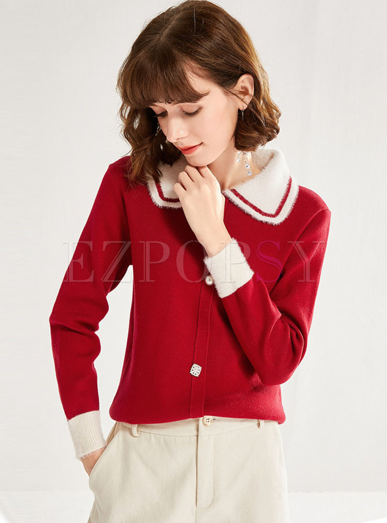 Color-blocked Lapel Pullover Sweater