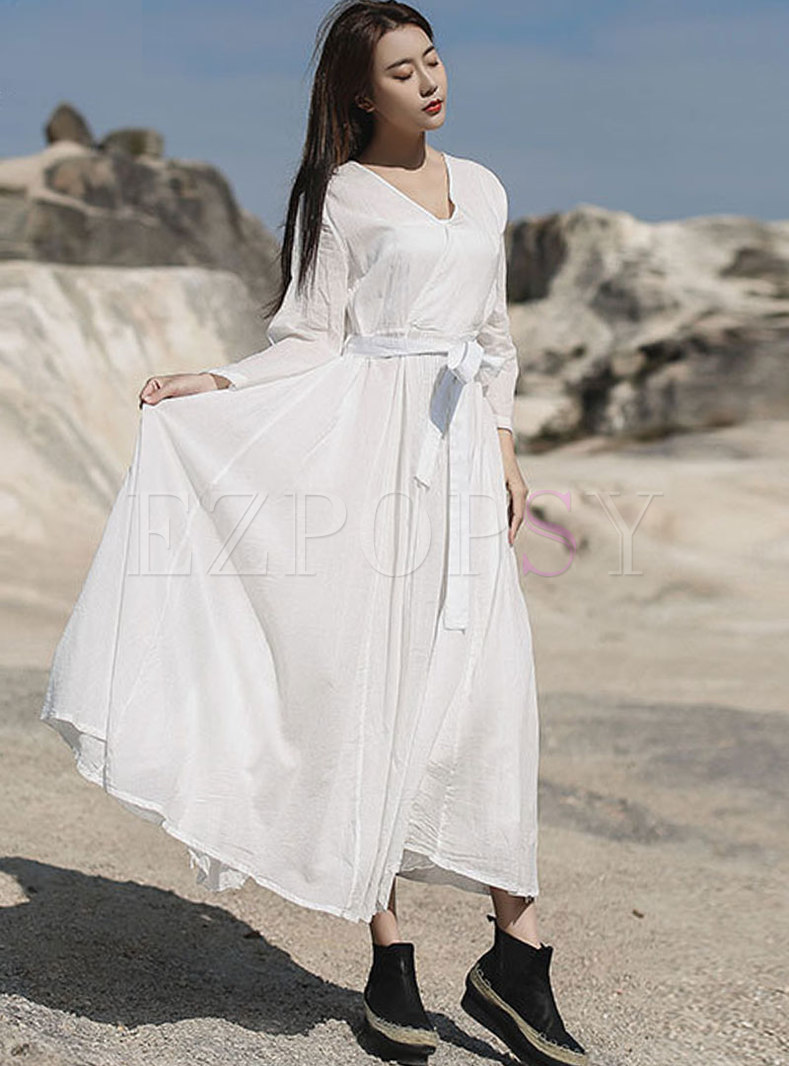 V-neck Long Sleeve A Line Maxi Dress