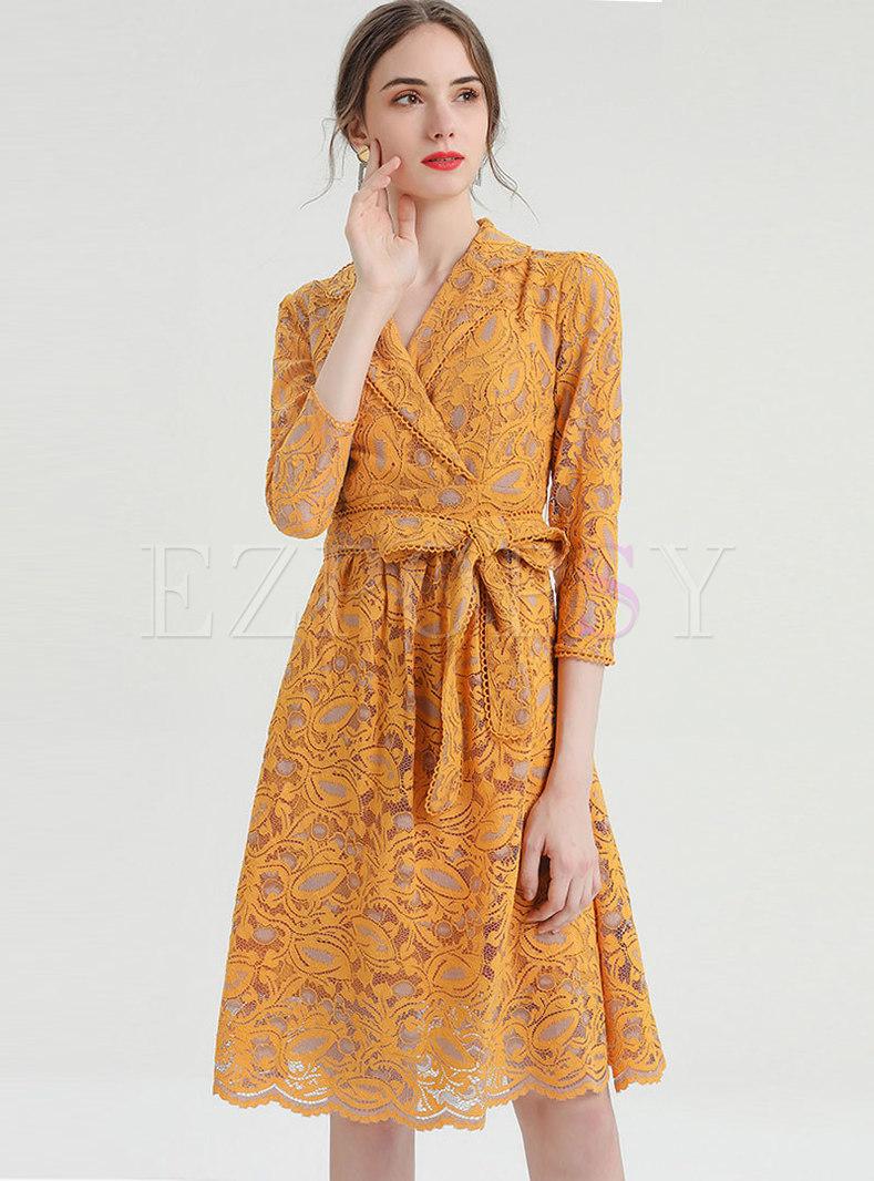 Notched Wrap A Line Lace Dress