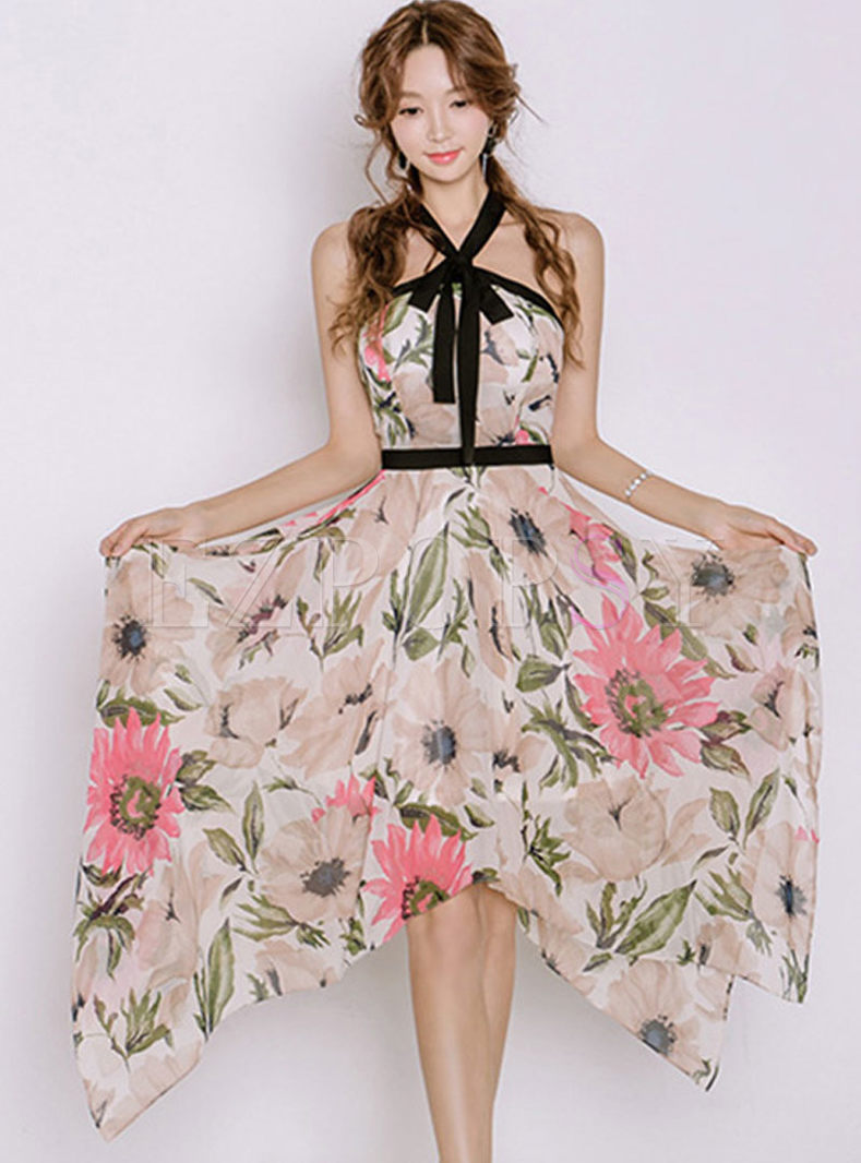 Asymmetric Print Backless Skater Dress
