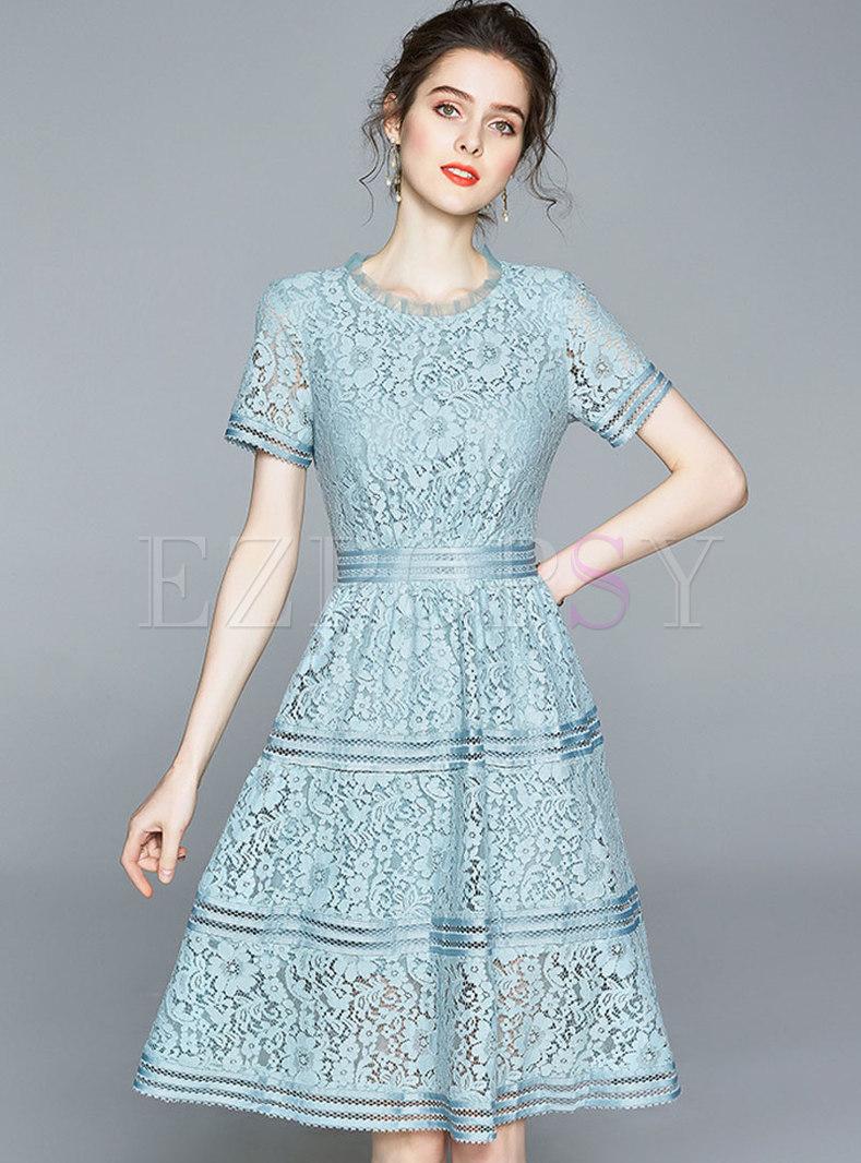 Light Blue Openwork Lace A Line Dress