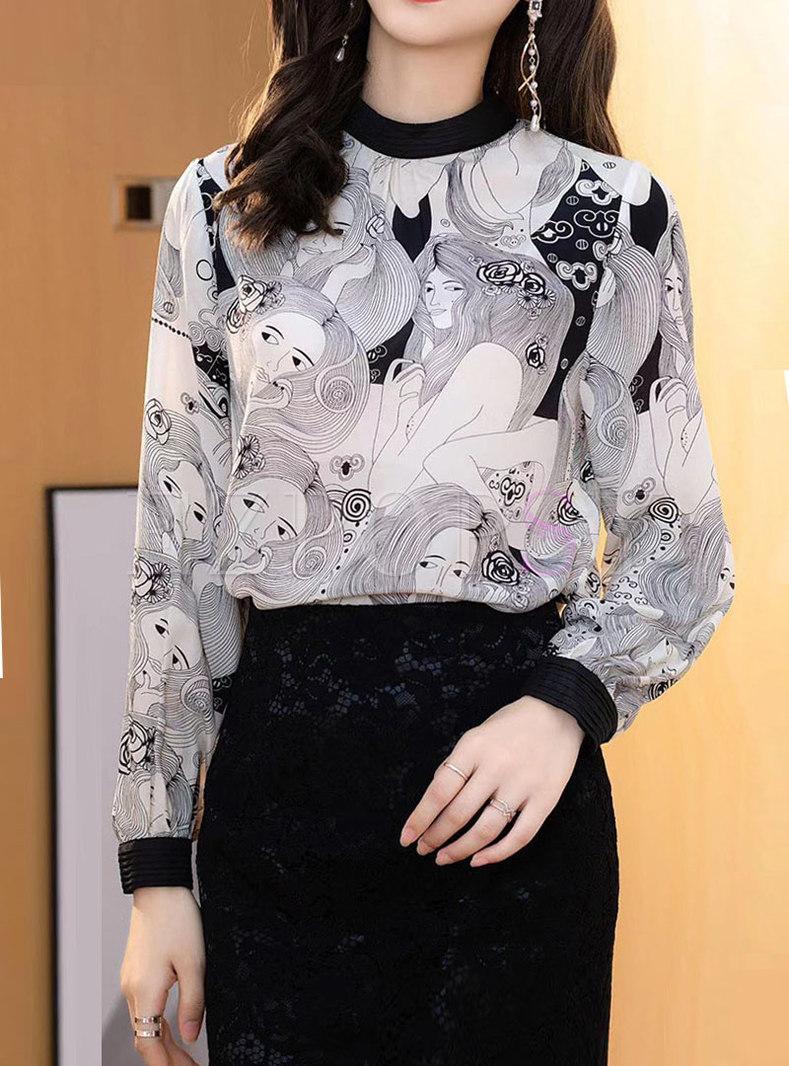 Mock Neck Pullover Print Silk Blouse
